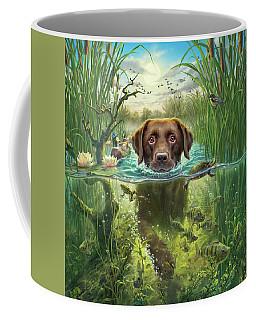 Golden Retriever Digital Art Coffee Mugs