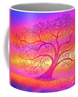 Coffee Mug featuring the painting Sunset Tree Cats by Nick Gustafson