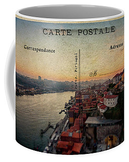 sunset view of the Douro river and old part of  Porto, Portugal Coffee Mug