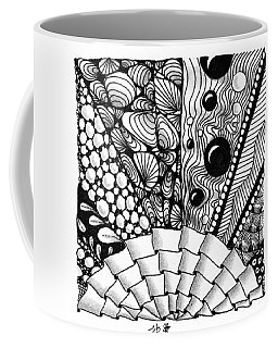 Coffee Mug featuring the drawing Sunsplosion by Jan Steinle