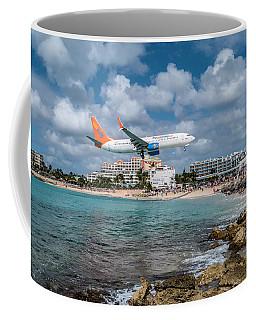 Sunwing Airlines Arriving At St. Maarten Airport. Coffee Mug