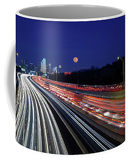 Super Moon And Dallas Texas Skyline Coffee Mug