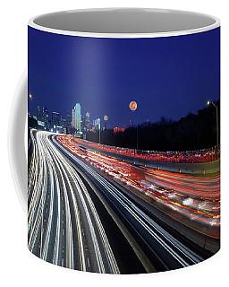 Super Moon And Dallas Texas Skyline Coffee Mug