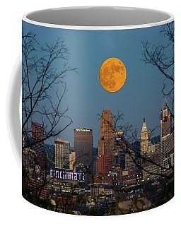 Coffee Mug featuring the photograph Super Moon City Thru The Trees by Randall Branham