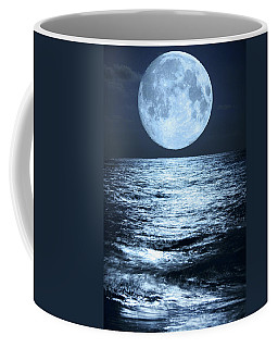 Super Moon Over Ocean Coffee Mug