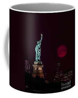 Super Moon Rising And The Statue Of Liberty Coffee Mug