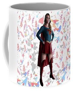 Coffee Mug featuring the mixed media Supergirl Splash Super Hero Series by Movie Poster Prints