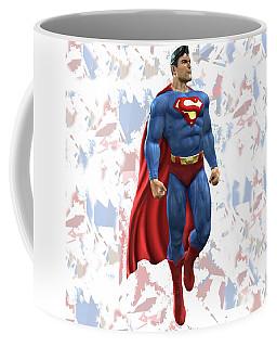 Coffee Mug featuring the mixed media Superman Splash Super Hero Series by Movie Poster Prints