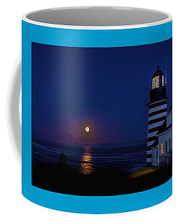 Supermoon At West Quoddy Head Lighthouse Coffee Mug by Marty Saccone
