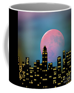 Supermoon Over The City Coffee Mug by Klara Acel