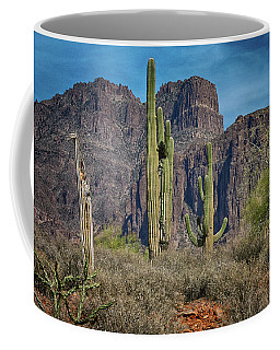 Superstition Mountain With Cactus Coffee Mug