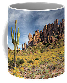Coffee Mug featuring the photograph Superstition Mountains Saguaro by James Eddy