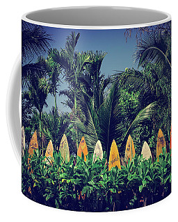 Coffee Mug featuring the photograph Surf Board Fence Maui Hawaii Vintage by Edward Fielding