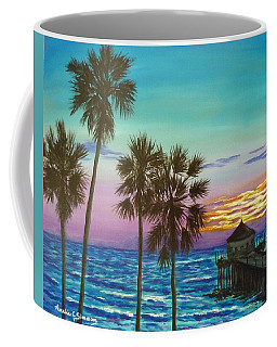 Coffee Mug featuring the painting Surf City Sunset by Amelie Simmons
