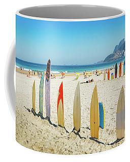 Surfboards On Ipanema Beach, Rio De Janeiro Coffee Mug