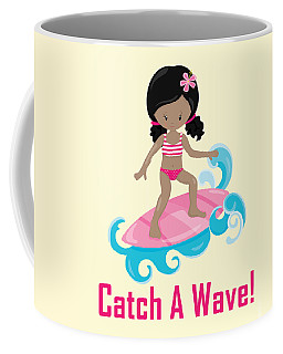 Surfer Art Catch A Wave Girl With Surfboard #20 Coffee Mug