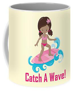 Surfer Art Catch A Wave Girl With Surfboard #21 Coffee Mug
