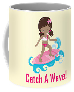 Surfer Art Catch A Wave Girl With Surfboard #21 Coffee Mug