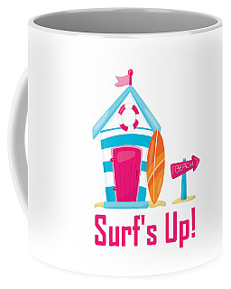 Surfer Art - Surf's Up Cabana House To The Beach Coffee Mug