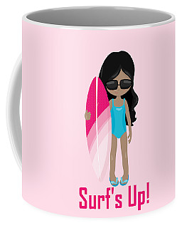 Surfer Art Surf's Up Girl With Surfboard #17 Coffee Mug