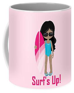 Surfer Art Surf's Up Girl With Surfboard #17 Coffee Mug