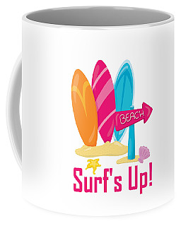 Surfer Art - Surf's Up To The Beach With Surfboards Coffee Mug
