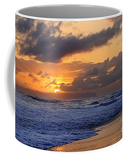 Surfer At Sunset On Kauai Beach With Niihau On Horizon Coffee Mug by Catherine Sherman