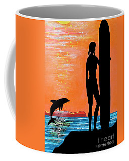Surfer Girl With Dolphin Coffee Mug
