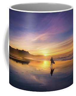 Surfer In Beach At Sunset Coffee Mug