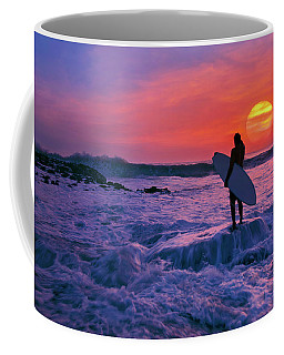 Surfer On Rock Looking Out From Blowing Rocks Preserve On Jupiter Island Coffee Mug by Justin Kelefas
