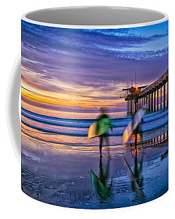 Surfers At Scripps Pier In La Jolla California Coffee Mug