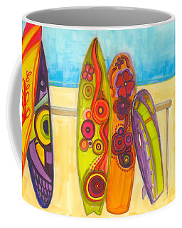 Surfing Buddies - Surf Boards At The Beach Illustration Coffee Mug