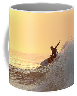 Coffee Mug featuring the photograph Surfing In Golden Sky by Robert Banach