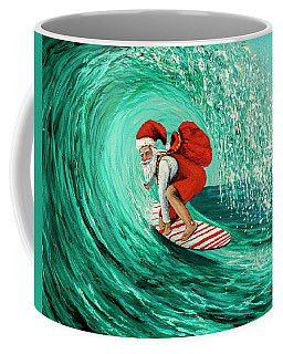 Coffee Mug featuring the painting Surfing Santa by Darice Machel McGuire