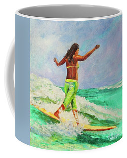 Coffee Mug featuring the painting Surfer Girl by Patricia Piffath