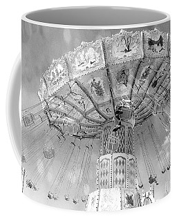 Coffee Mug featuring the photograph Surreal Carnival Rides - Carnival Rides Ferris Wheel Black And White Photography Prints Home Decor by Kathy Fornal