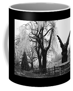 Surreal Gothic Gargoyle Black And White Tree Infrared Landscape  Coffee Mug by Kathy Fornal