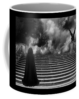 Surreal Gothic Infrared Black Caped Figure With Gargoyle On Paris Steps Coffee Mug by Kathy Fornal