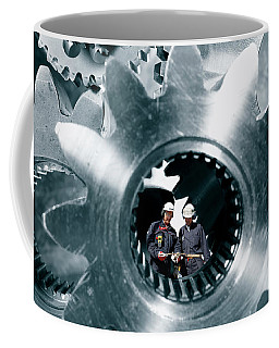 Surreal Image Of Workers Inside Giant Gears And Cogs Coffee Mug