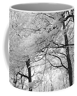 Coffee Mug featuring the photograph Surreal Infrared Black White Nature Trees - Haunting Black White Trees Nature Infrared by Kathy Fornal