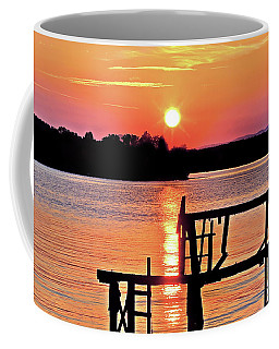 Surreal Smith Mountain Lake Dock Sunset Coffee Mug