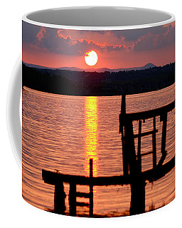 Surreal Smith Mountain Lake Dockside Sunset 2 Coffee Mug by The American Shutterbug Society