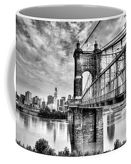 Suspension Bridge At Cincinnati Bw Coffee Mug