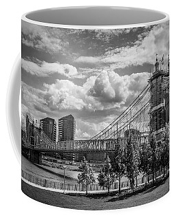 Suspension Bridge Black And White Coffee Mug by Scott Meyer