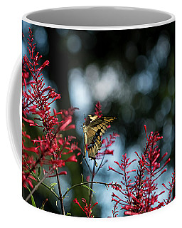 Swallowtail Butterfly Hovers Near Red Firespike Coffee Mug