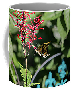 Swallowtail Butterfly Indulges In Red Firespike Coffee Mug