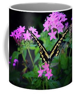 Swallowtail Butterfly Rests On Pink Flowers Coffee Mug by Toni Hopper