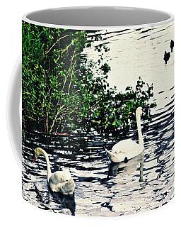 Coffee Mug featuring the photograph Swan Family On The Rhine 2 by Sarah Loft