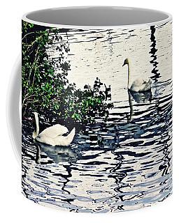 Coffee Mug featuring the photograph Swan Family On The Rhine 3 by Sarah Loft