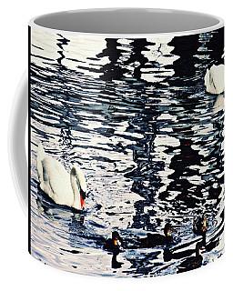 Coffee Mug featuring the photograph Swan Family On The Rhine by Sarah Loft